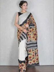 White & Black Batik Pure Silk Saree (Product No 3773)