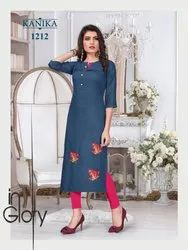 Ruby Silk Fabric With Embroidery Work Kurti For Womens