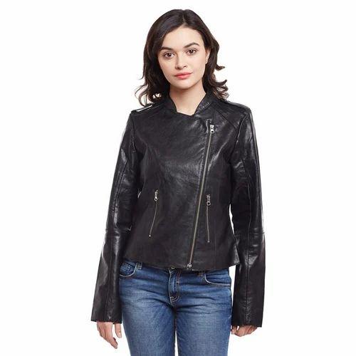 d921667bfa909 Black Leather Classic Biker Women Jacket at Rs 5999 /piece | Basti ...