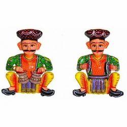 Wooden Decorative Sitting Musician Babla(Set of 2)