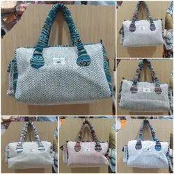 Handled Printed Hemp New Handbag