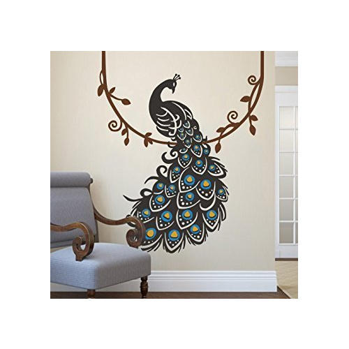 printed peacock design wall sticker, rs 100 /square feet, walls