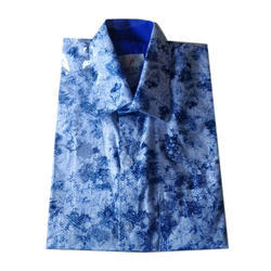 M And L Collar Neck Mens Blue Shirt
