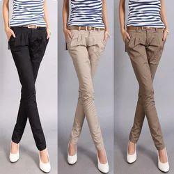 Cotton Plain Womens Stylish Pant