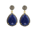 Dyed Blue Sapphire Pave Diamond Earrings