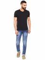 Mens Solid Blue Denim Jeans
