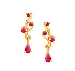 Tanishq Yellow Gold And Ruby Drop Earrings