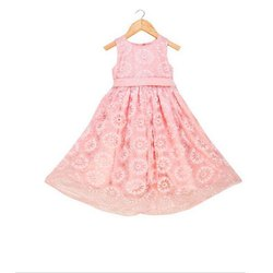 Cotton Kids Girls Pink Lace Party Wear Gown