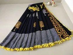Bagru Printed Pom Pom Lace Cotton Mulmul Saree