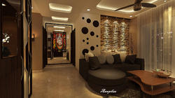 Living room with Pooja designs