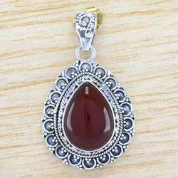 925 Sterling Silver Jewelry Carnelian Gemstone Stone Pendant