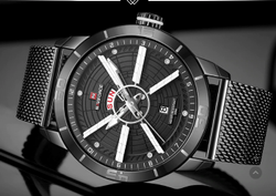 NAVIFORCE Men Watch Quartz Date Stainless Steel Waterproof NF9155/Available in 5 colors.