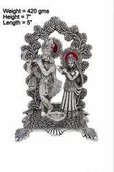 Silver Plated Radha Krishna Statue with Diya