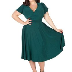 Custom Color Round Neck Women's Plus Size Dresses