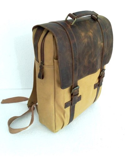 Unisex Brown Canvas Buffalo Backpack Bag