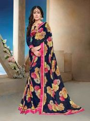 Navy Blue Colored Festive Season Georgette Saree