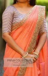 Cotton Check Saree With Pearl Work