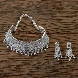 White CZ Mukut Necklace with Rhodium Plating 406296, Occasion: Wedding, Size: Reguler Size And Adjustable