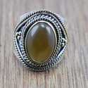 925 STERLING SILVER AND BRASS JEWELRY SMOKY GEMSTONE ADJUSTABLE RING WR-5822