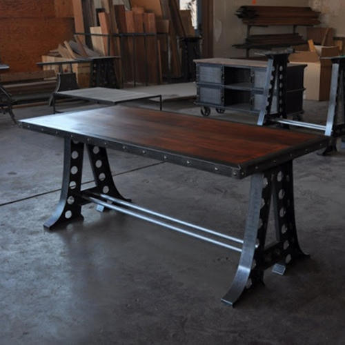 Vintage Dining Table With Cast Iron Legs