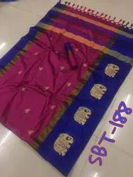 Beautiful Elephant Embroidery Work Saree