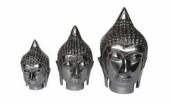 Aluminium Buddha Head Set of 3 Sculptures statues