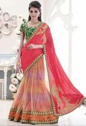 Plush Peach And Carmine Pink Lehenga Saree