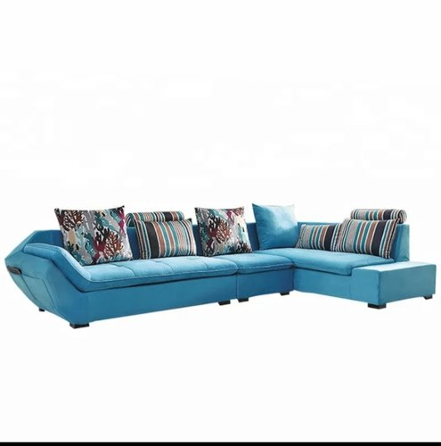 Open Furnitures Sky Blue L Shape Sofa, Back Style: Cushion back, 4 Years