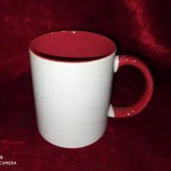 Plain Ceramic Sublimation Red Colour Inside Mug, For Gifting, Size/Dimension: 11oz