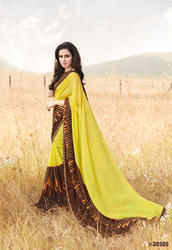 Yellow Georgette Party Wear Printed Saree