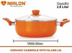 Nirlon Ceramic CSS_22 PTFE Coating Aluminium Ceramic 2.6 L Casserole With Lid