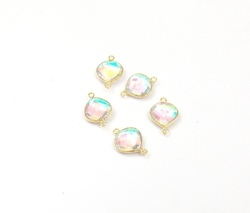 Rainbow Multi Quartz Heart Bezel Connectors