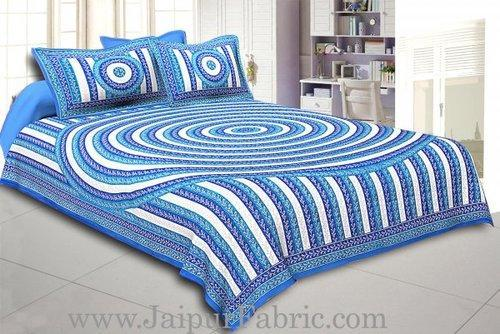 Blue Border Cream Base Circle Pattern Double Bed Sheet