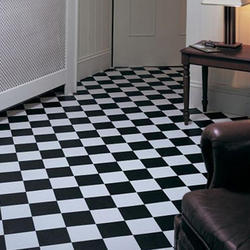 Black and White Checkered Vinyl Flooring