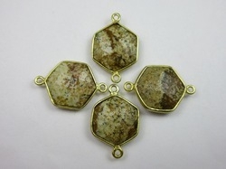 Picture Jasper Hexagon Shape Bezel Set Connector