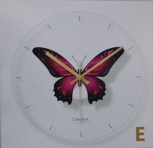 Retro Nirvana Butterfly Theme Glass Clock