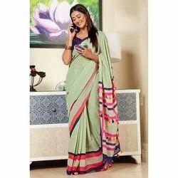 Casual Wear Banarasi Cotton Saree, 6.5 Meter (With Blouse Piece)