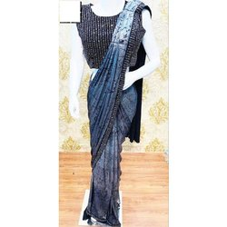 Printed Blue Ladies Pre Pleated Wedding Saree, With blouse piece, 5.5 m (separate blouse piece)