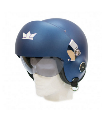 Matt Blue Male The Squadron Motorcycle Open Face Helmet With Twin