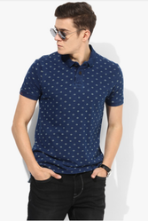 Navy Blue Printed Regular Fit Polo T-Shirt