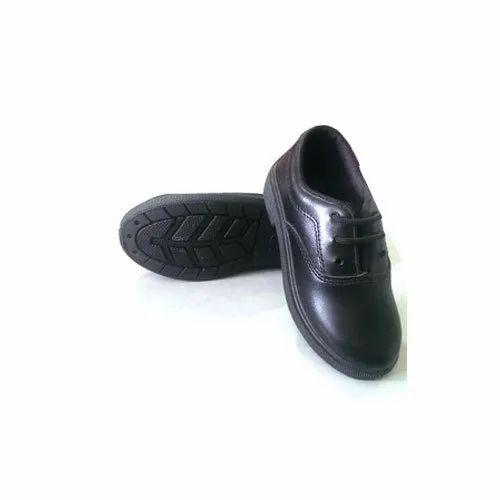 Polymer Kids Black School Shoes, Laces