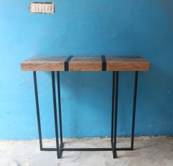MS Iron Metal Frame With Mango Wooden Top High Side Table Furniture Bar Table