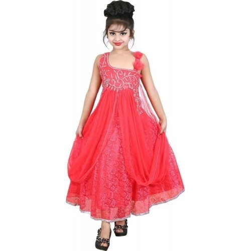 6663bc95fc26 Dark Peach Party Wear Kids Girls Fancy Gown, Rs 450 /piece | ID ...