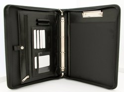 Black Leatherette Conference Folder with Handle