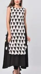 Rashal Enterprises Cotton Black Designer Printed Kurti