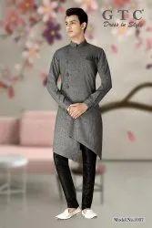 Cotton GREY Indo Western Kurta, Mandarin Collar