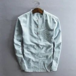 Linen Chinese Collar Mens Shirt