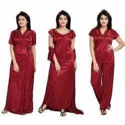 Maroon KavJay Ladies Plain Night Dress