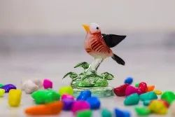 Red Glossy Glass Bird With Leaf