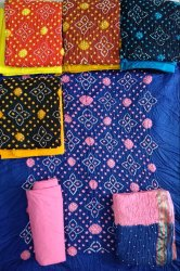 Unstitched Female Bandhej Dress Material